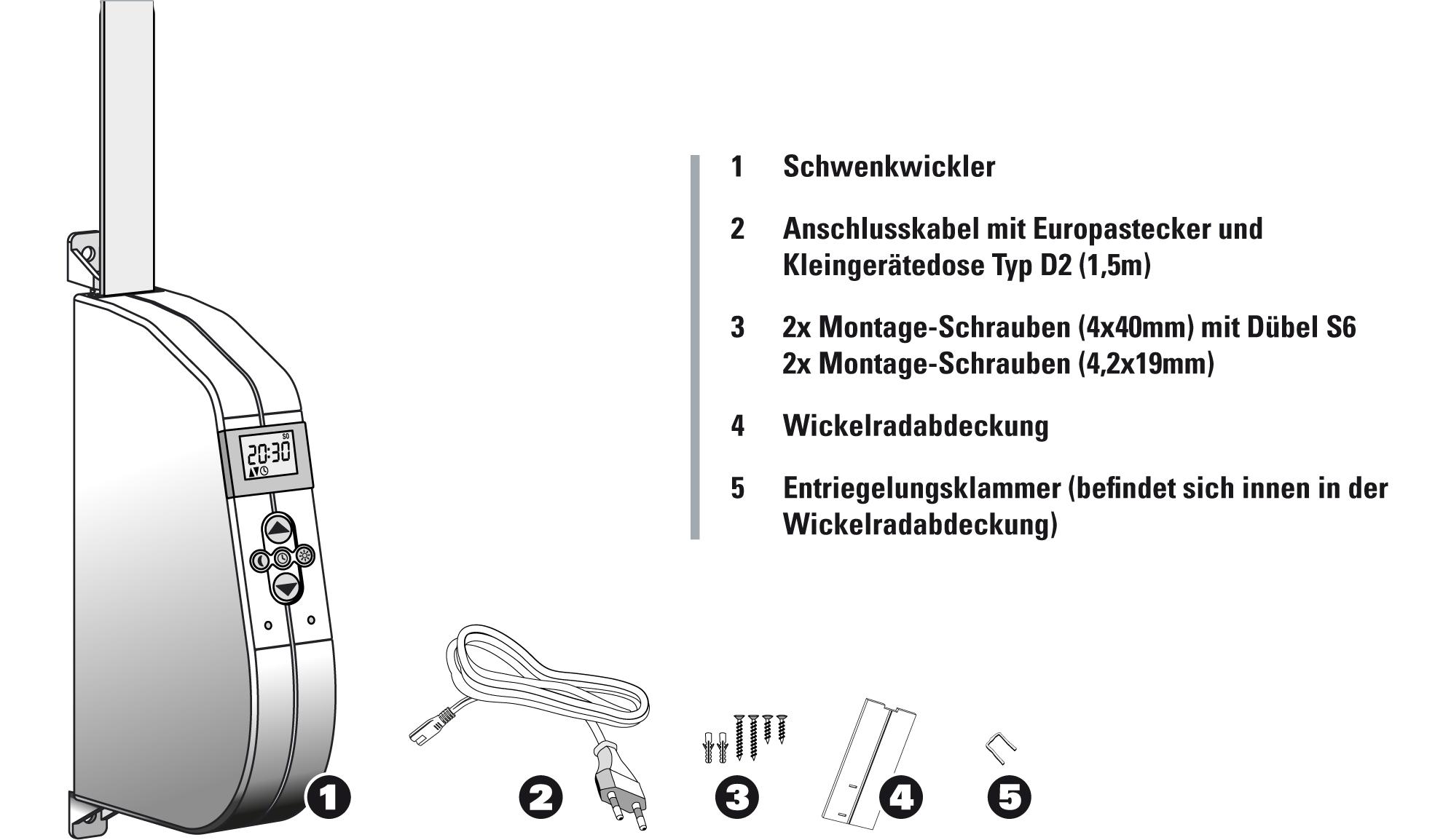 elektrischer Gurtwickler eW940-F Lieferumfang