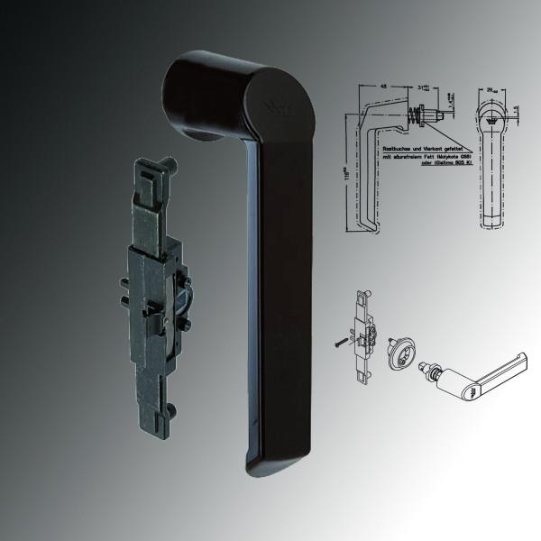 Schüco Fenstergriff Schnicks 23423500 braun & Kammergetriebe für Steckgriff