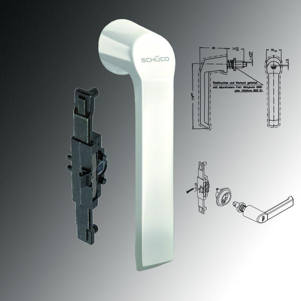 Schüco Fenstergriff Schnicks 23423500 weiß & Kammergetriebe für Steckgriff